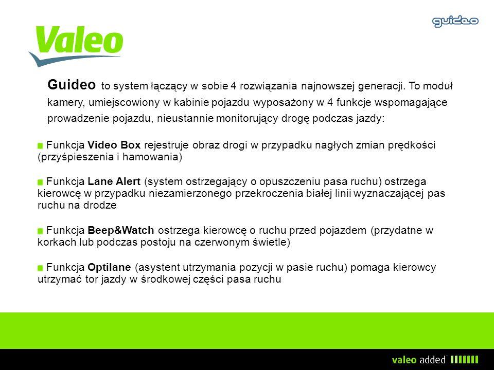 Guideo to system łączący w sobie 4 rozwiązania najnowszej generacji. To moduł kamery, umiejscowiony w kabinie pojazdu wyposażony w 4 funkcje wspomagaj