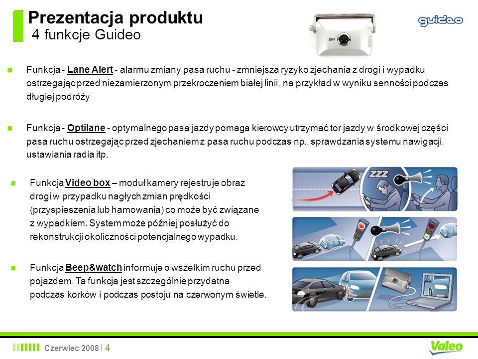Czerwiec 2008 I 4 Prezentacja produktu 4 funkcje Guideo Funkcja - Lane Alert - alarmu zmiany pasa ruchu - zmniejsza ryzyko zjechania z drogi i wypadku