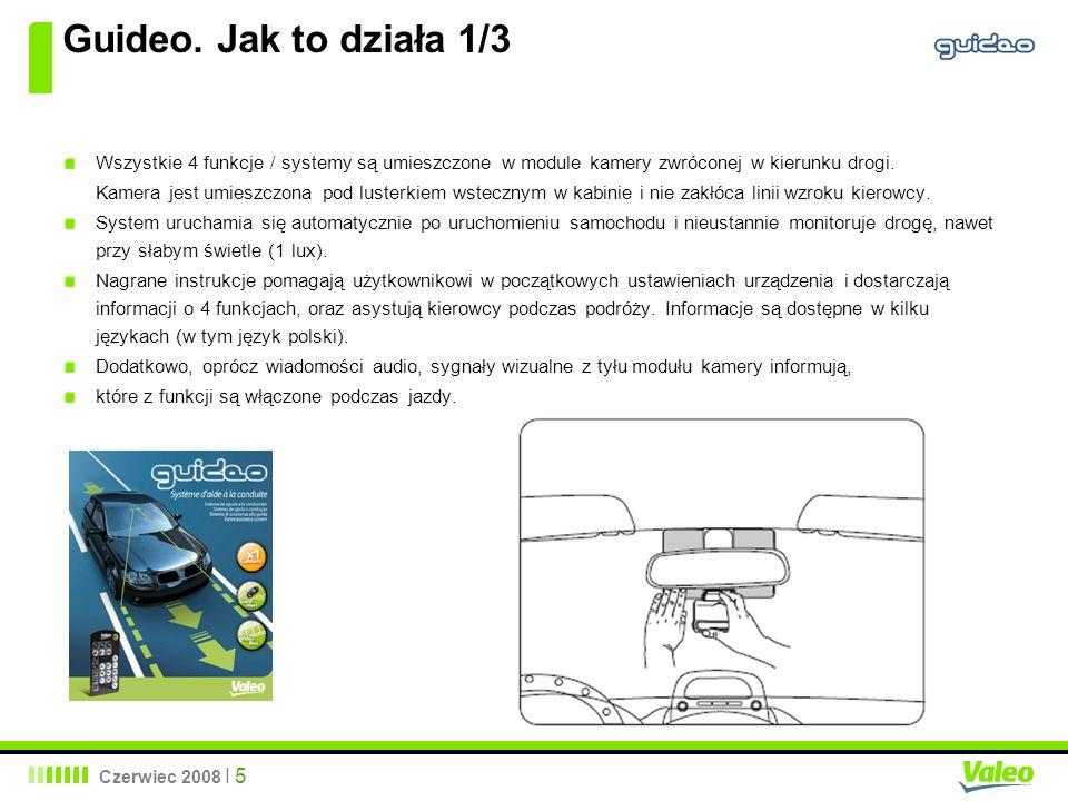 Czerwiec 2008 I 5 Guideo. Jak to działa 1/3 Wszystkie 4 funkcje / systemy są umieszczone w module kamery zwróconej w kierunku drogi. Kamera jest umies