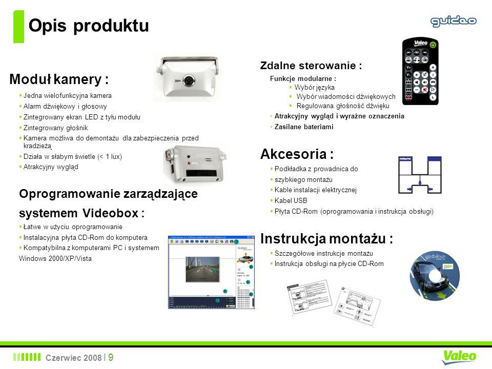 Czerwiec 2008 I 9 Opis produktu Zdalne sterowanie : Funkcje modularne : Wybór języka Wybór wiadomości dźwiękowych Regulowana głośność dźwięku Atrakcyj