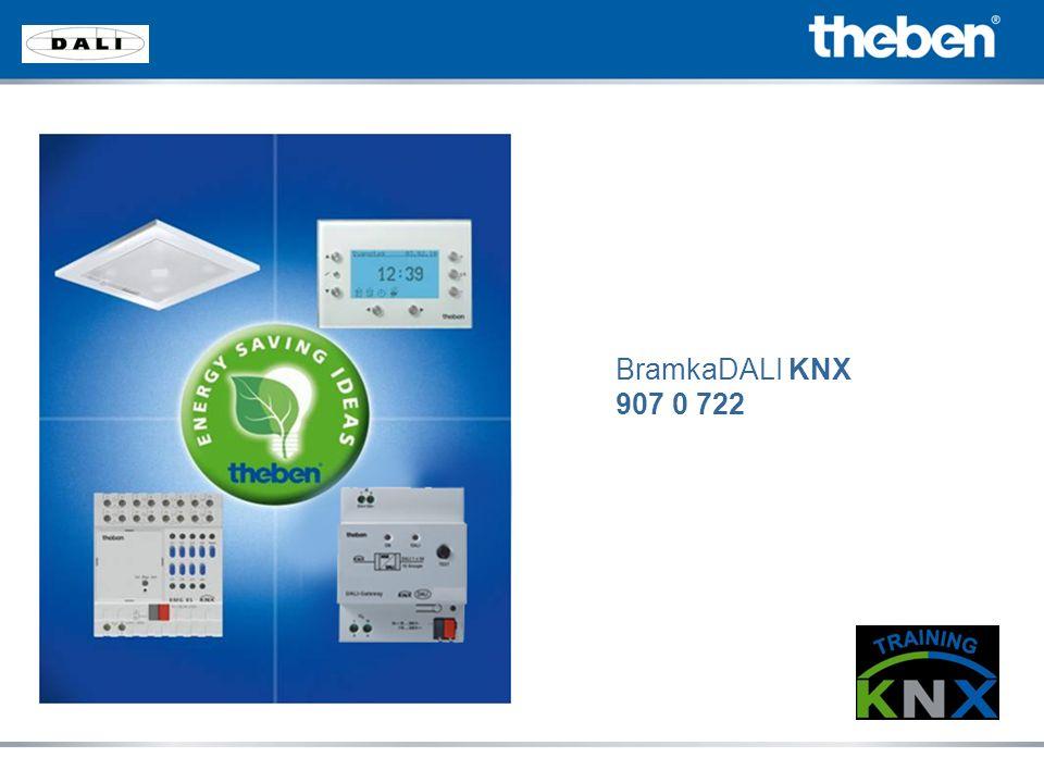 Oprogramowanie bramki Rozszerzenie istniejącej aplikacji Podział urządzeń na grupy Wyświetlanie błędów wszystkich 64 urządzeń Poszczególne oświetlenie lub grupy mogą być opisane w programie zgodnie z projektem Projekt może być zaimportowany lub zapisany w pliku tekstowym Bramka KNX DALI