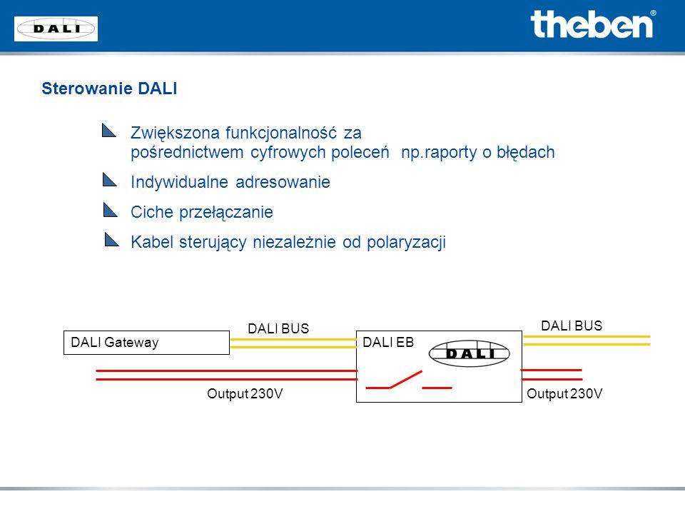 Sterowanie DALI Zwiększona funkcjonalność za pośrednictwem cyfrowych poleceń np.raporty o błędach Indywidualne adresowanie Ciche przełączanie Kabel st