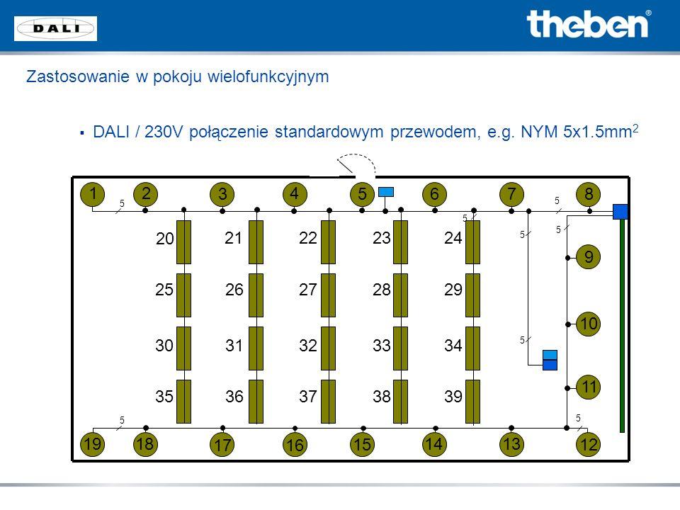 Zastosowanie w pokoju wielofunkcyjnym DALI / 230V połączenie standardowym przewodem, e.g. NYM 5x1.5mm 2