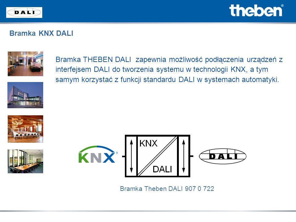 Bramka KNX DALI Bramka THEBEN DALI zapewnia możliwość podłączenia urządzeń z interfejsem DALI do tworzenia systemu w technologii KNX, a tym samym korz