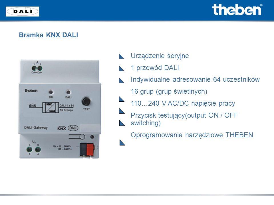Bramka KNX DALI Urządzenie seryjne 1 przewód DALI Indywidualne adresowanie 64 uczestników 16 grup (grup świetlnych) 110…240 V AC/DC napięcie pracy Prz