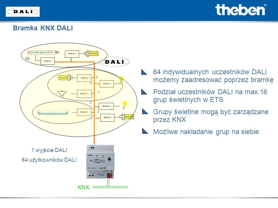 64 indywidualnych uczestników DALI możemy zaadresować poprzez bramkę Podział uczestników DALI na max.16 grup świetlnych w ETS Grupy świetlne mogą być