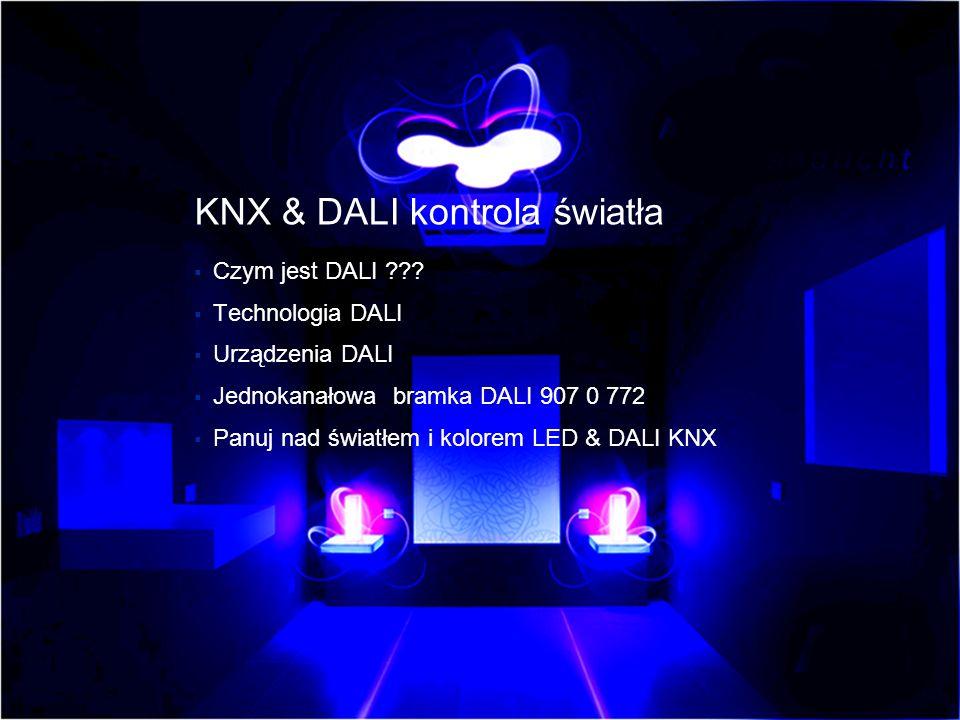 Światło w każdym kolorze można osiągnąć za pomocą technologii LED RGB lub świetlówek : czerwonej, zielonej i niebieskiej Odpowiedni konwerter DALI LED lub DALI EB może być sterowany z KNX poprzez bramkę DALI.