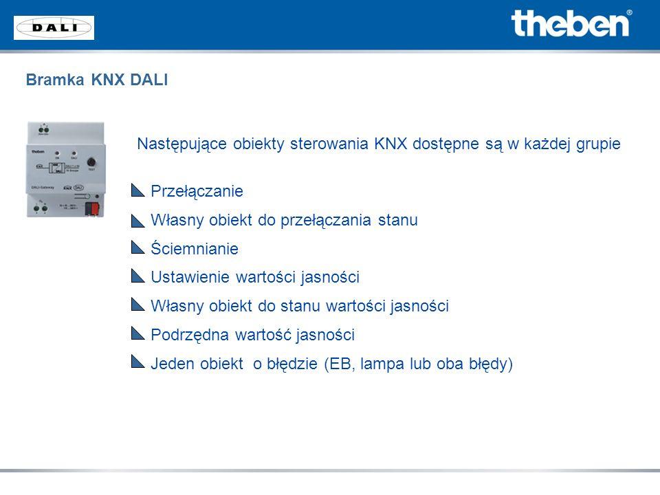 Następujące obiekty sterowania KNX dostępne są w każdej grupie Przełączanie Własny obiekt do przełączania stanu Ściemnianie Ustawienie wartości jasnoś
