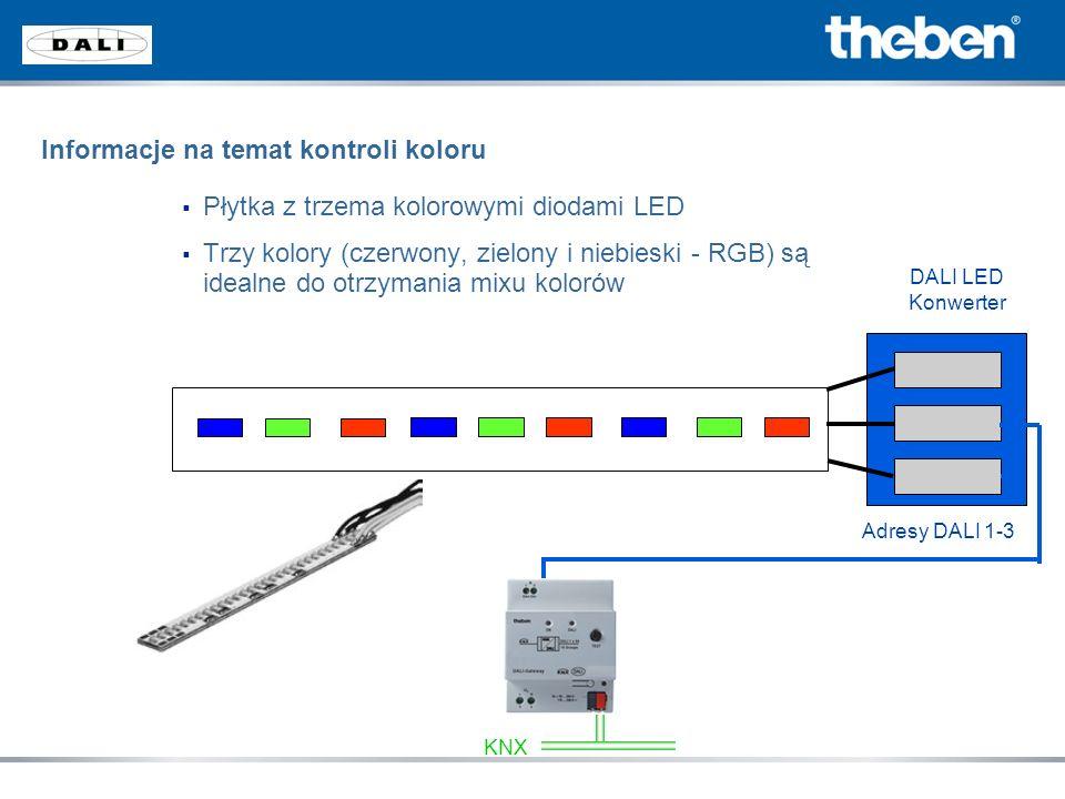 Płytka z trzema kolorowymi diodami LED Trzy kolory (czerwony, zielony i niebieski - RGB) są idealne do otrzymania mixu kolorów DALI LED Konwerter Adre