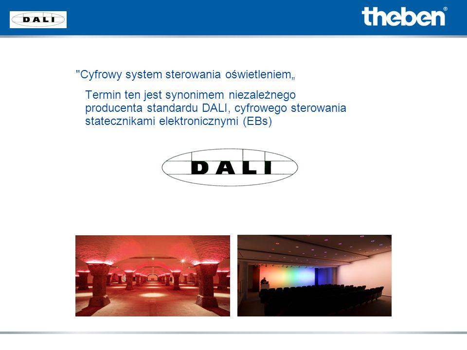 Historia Standard DALI został poparty w 1999 roku przez wiodących światowych producentów takich jak: OSRAM, Philips Lighting, TRIDONIC, Vossloh Schwabe i innych Aktywna grupa DALI (AG DALI www.dali-ag.org) została utworzona pod egidą ZVEI dla ustalenia standardu DALI Członkowie grupy DALI : ABB, BAG, CEAG, DIAL, ERC, ERCO, ETAP,HADLER, HELVAR, INSTA, JOHANSON CONTROLS, LIGHTOLIER, LUTRON, LUXMATE, MAY&CHRISTE, OSRAM, PHILIPS LIGHTING, TRIDONIC, THEBEN i wiele więcej