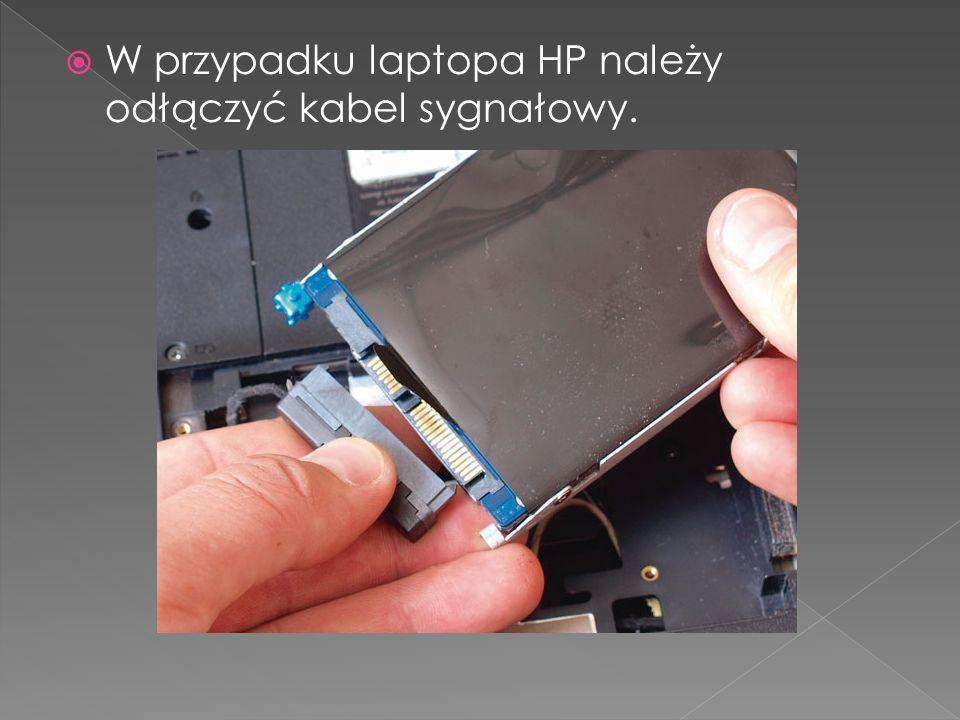 W przypadku laptopa HP należy odłączyć kabel sygnałowy.