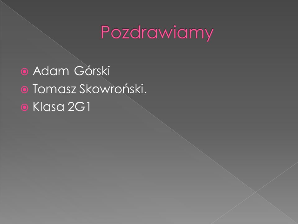 Adam Górski Tomasz Skowroński. Klasa 2G1