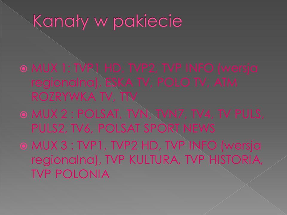 MUX 1: TVP1 HD, TVP2, TVP INFO (wersja regionalna), ESKA TV, POLO TV, ATM ROZRYWKA TV, TTV MUX 2 : POLSAT, TVN, TVN7, TV4, TV PULS, PULS2, TV6, POLSAT SPORT NEWS MUX 3 : TVP1, TVP2 HD, TVP INFO (wersja regionalna), TVP KULTURA, TVP HISTORIA, TVP POLONIA