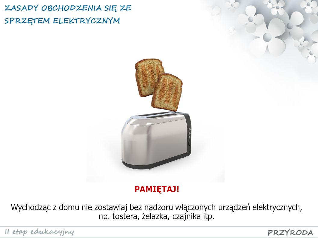 PAMIĘTAJ! Wychodząc z domu nie zostawiaj bez nadzoru włączonych urządzeń elektrycznych, np. tostera, żelazka, czajnika itp.