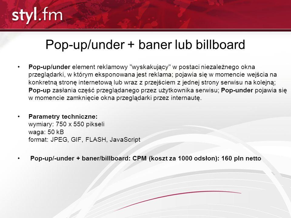 Pop-up/under + baner lub billboard Pop-up/under element reklamowy