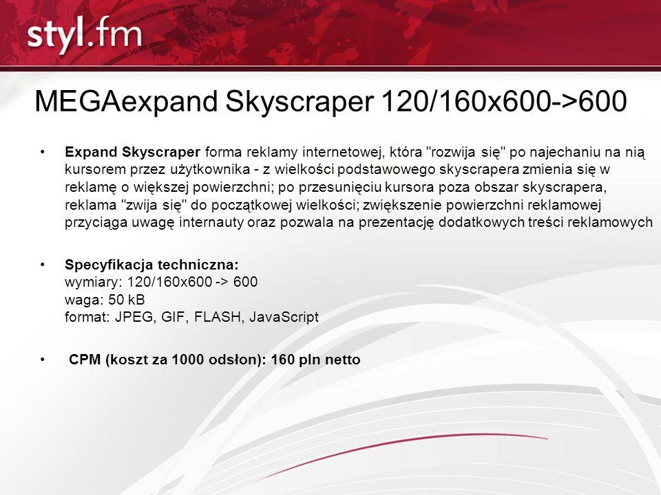 MEGAexpand Skyscraper 120/160x600->600 Expand Skyscraper forma reklamy internetowej, która