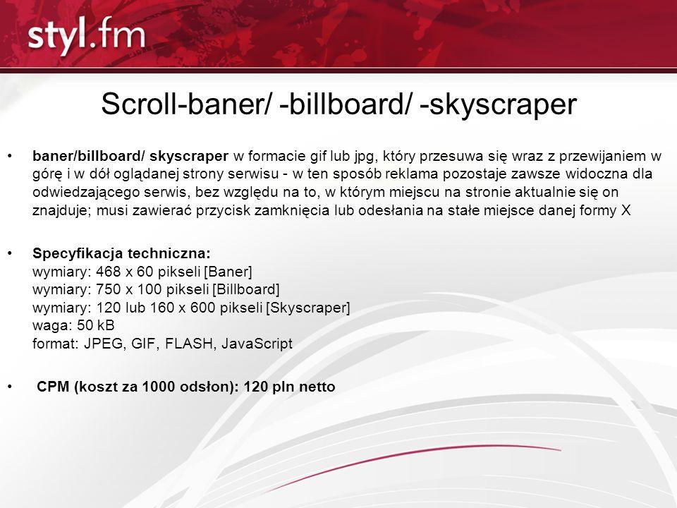 Scroll-baner/ -billboard/ -skyscraper baner/billboard/ skyscraper w formacie gif lub jpg, który przesuwa się wraz z przewijaniem w górę i w dół ogląda