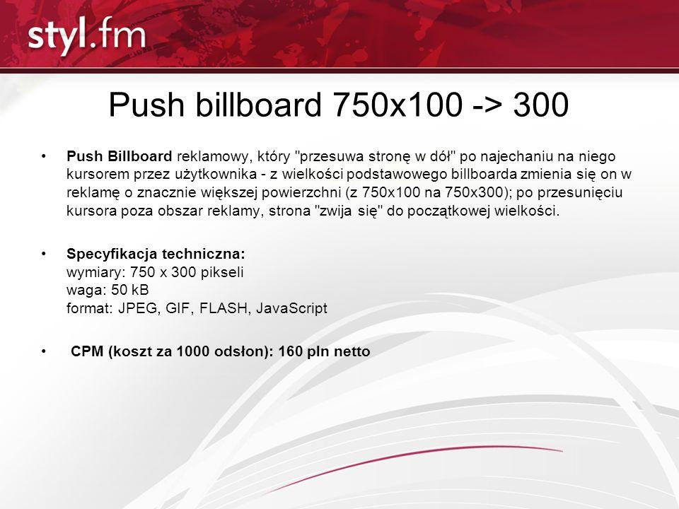 Push billboard 750x100 -> 300 Push Billboard reklamowy, który
