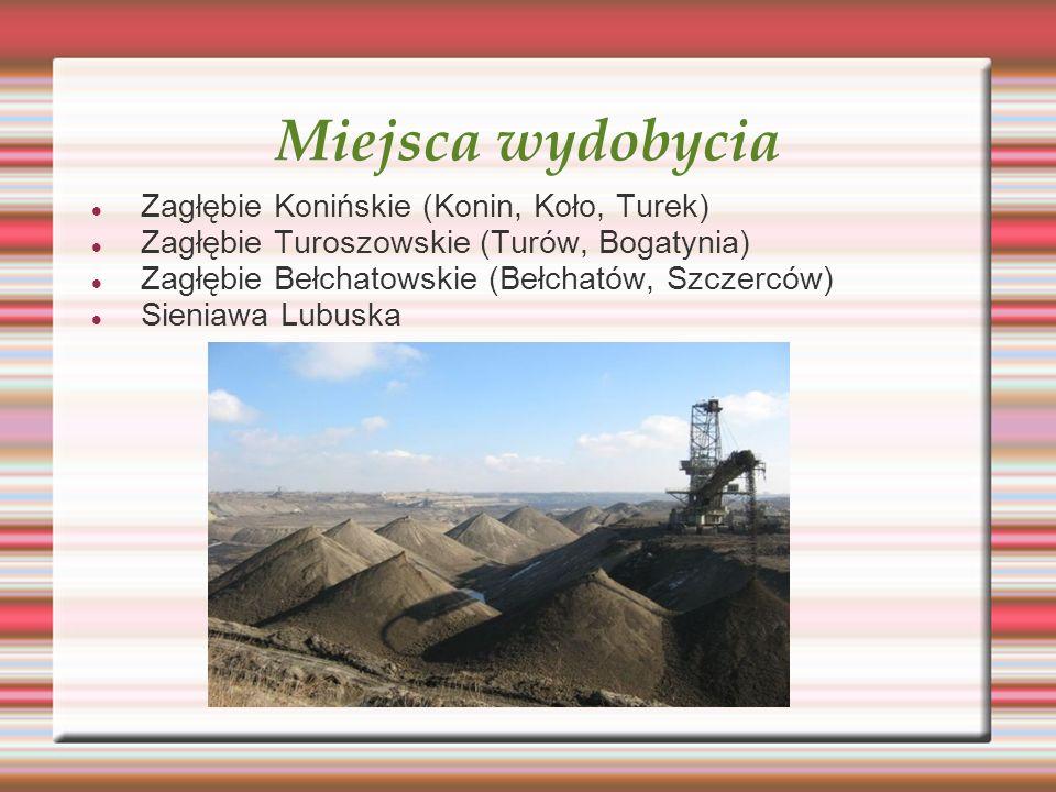 Miejsca wydobycia Zagłębie Konińskie (Konin, Koło, Turek) Zagłębie Turoszowskie (Turów, Bogatynia) Zagłębie Bełchatowskie (Bełchatów, Szczerców) Sieni