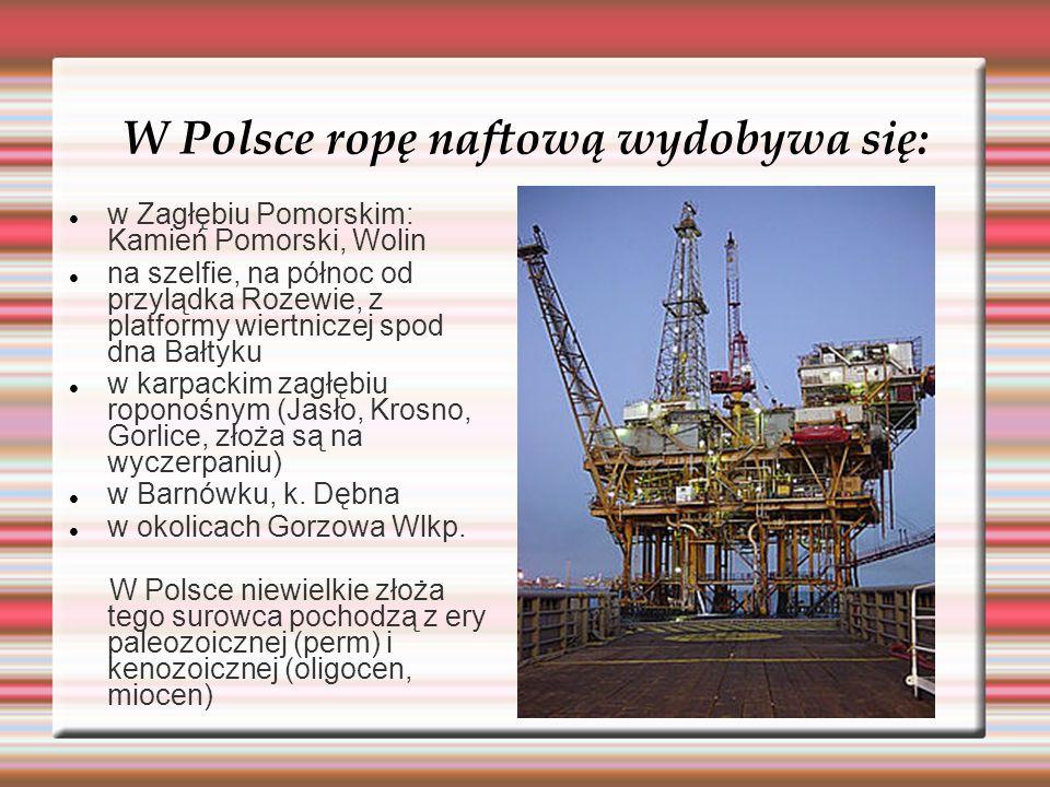 W Polsce ropę naftową wydobywa się: w Zagłębiu Pomorskim: Kamień Pomorski, Wolin na szelfie, na północ od przylądka Rozewie, z platformy wiertniczej s