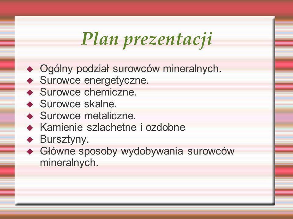 Plan prezentacji Ogólny podział surowców mineralnych. Surowce energetyczne. Surowce chemiczne. Surowce skalne. Surowce metaliczne. Kamienie szlachetne