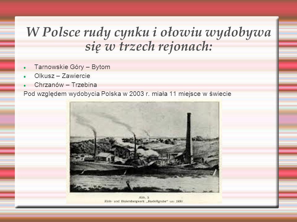 W Polsce rudy cynku i ołowiu wydobywa się w trzech rejonach: Tarnowskie Góry – Bytom Olkusz – Zawiercie Chrzanów – Trzebina Pod względem wydobycia Pol