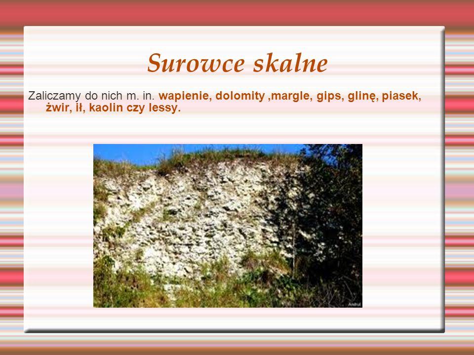 Surowce skalne Zaliczamy do nich m. in. wapienie, dolomity,margle, gips, glinę, piasek, żwir, ił, kaolin czy lessy.