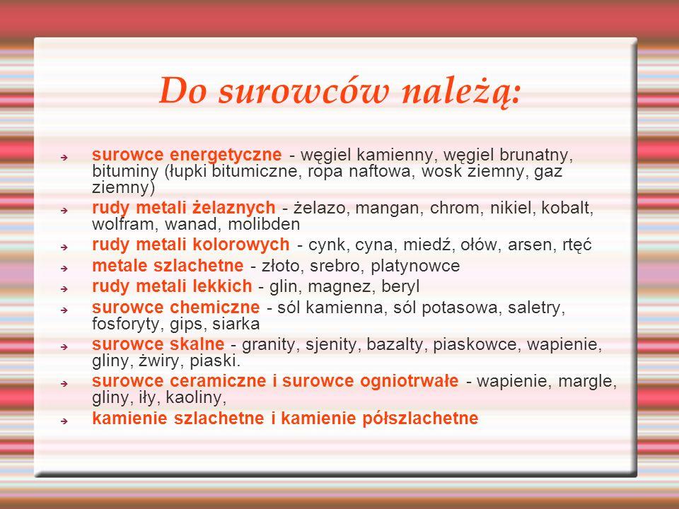W Polsce rudy cynku i ołowiu wydobywa się w trzech rejonach: Tarnowskie Góry – Bytom Olkusz – Zawiercie Chrzanów – Trzebina Pod względem wydobycia Polska w 2003 r.