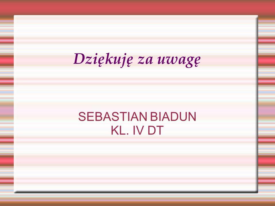 Dziękuję za uwagę SEBASTIAN BIADUN KL. IV DT