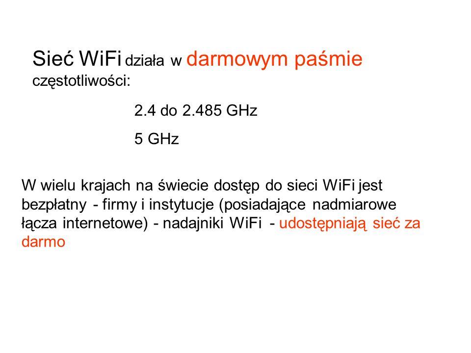 Sieć WiFi działa w darmowym paśmie częstotliwości: 2.4 do 2.485 GHz 5 GHz W wielu krajach na świecie dostęp do sieci WiFi jest bezpłatny - firmy i ins