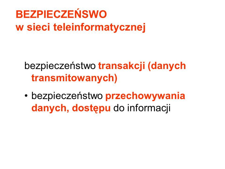 BEZPIECZEŃSWO w sieci teleinformatycznej bezpieczeństwo transakcji (danych transmitowanych) bezpieczeństwo przechowywania danych, dostępu do informacj