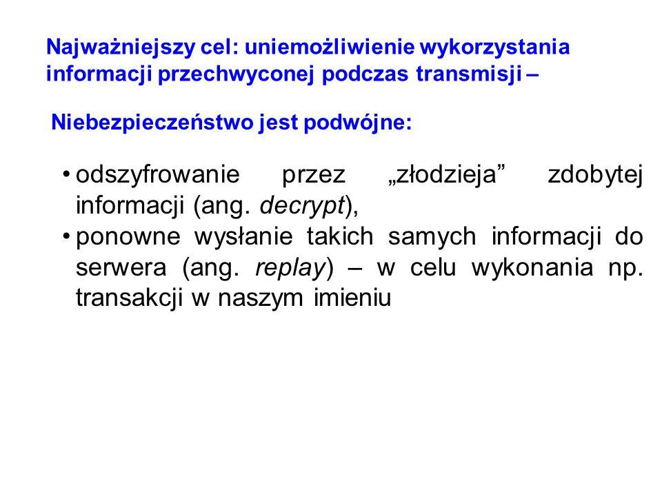 odszyfrowanie przez złodzieja zdobytej informacji (ang. decrypt), ponowne wysłanie takich samych informacji do serwera (ang. replay) – w celu wykonani