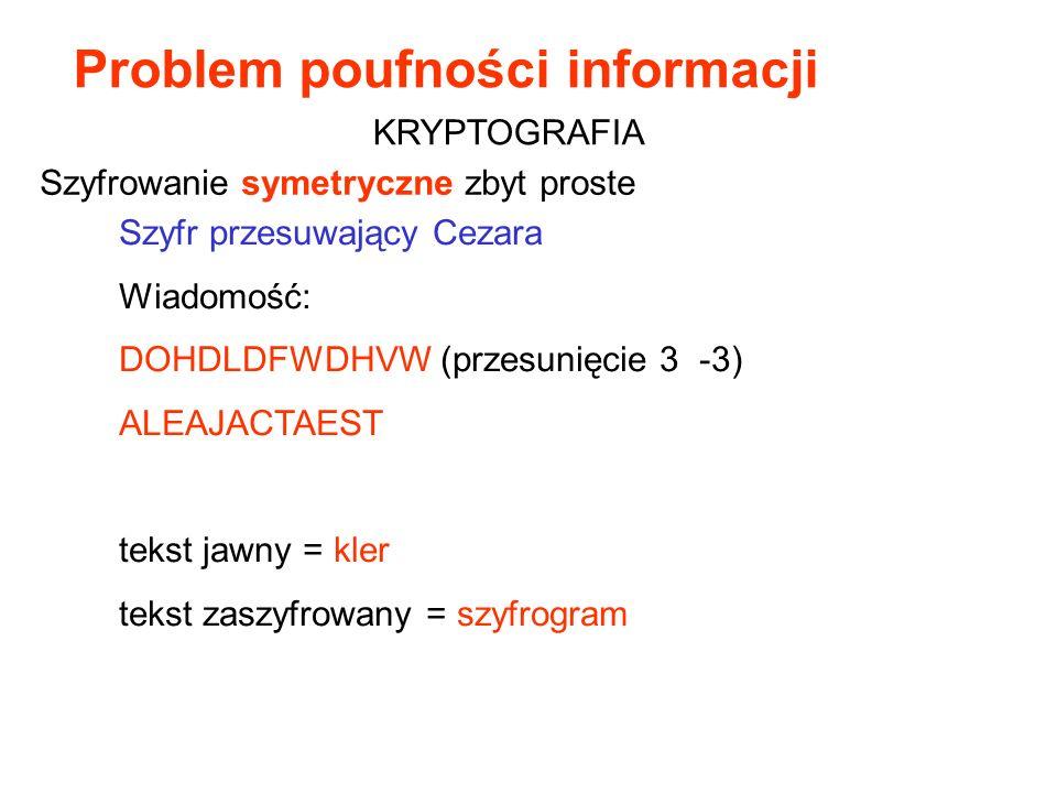 Szyfr przesuwający Cezara Wiadomość: DOHDLDFWDHVW (przesunięcie 3 -3) ALEAJACTAEST tekst jawny = kler tekst zaszyfrowany = szyfrogram Szyfrowanie syme