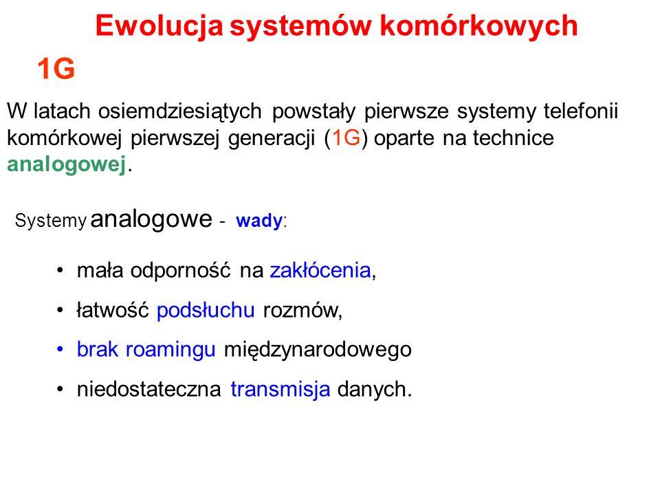 Dla telefonii 2G zostały określone podstawowe cechy komunikacji: Pierwszy system GSM na świecie - w 1991r, transmisja danych - 9,6 kb/s, transmisja mowy - kodowanie z przepływnością 13 kb/s, dostęp do kanału radiowego przesyłanie SMS-ów realizacja połączeń alarmowych.