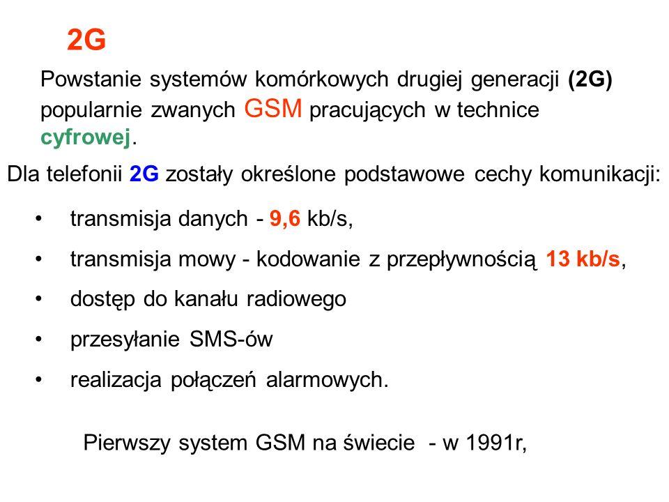 Dla telefonii 2G zostały określone podstawowe cechy komunikacji: Pierwszy system GSM na świecie - w 1991r, transmisja danych - 9,6 kb/s, transmisja mo