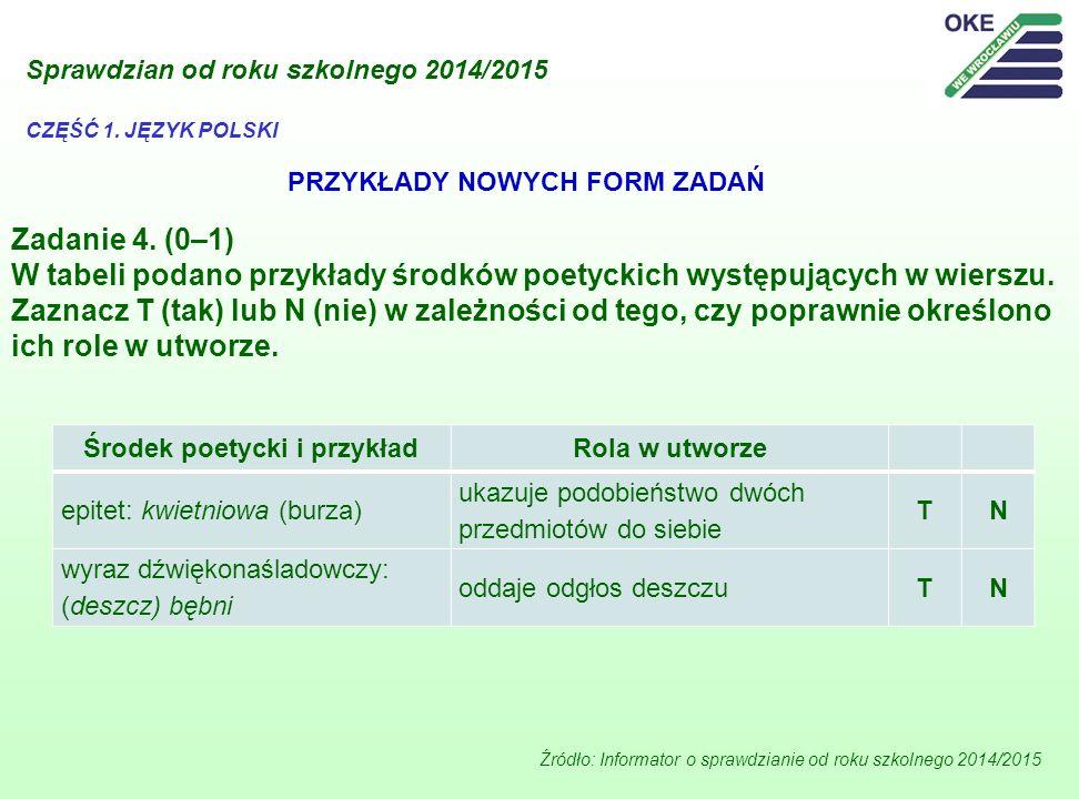 Zadanie 4. (0–1) W tabeli podano przykłady środków poetyckich występujących w wierszu. Zaznacz T (tak) lub N (nie) w zależności od tego, czy poprawnie