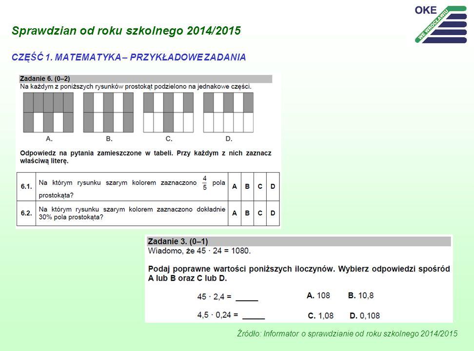 Sprawdzian od roku szkolnego 2014/2015 Źródło: Informator o sprawdzianie od roku szkolnego 2014/2015 CZĘŚĆ 1. MATEMATYKA – PRZYKŁADOWE ZADANIA