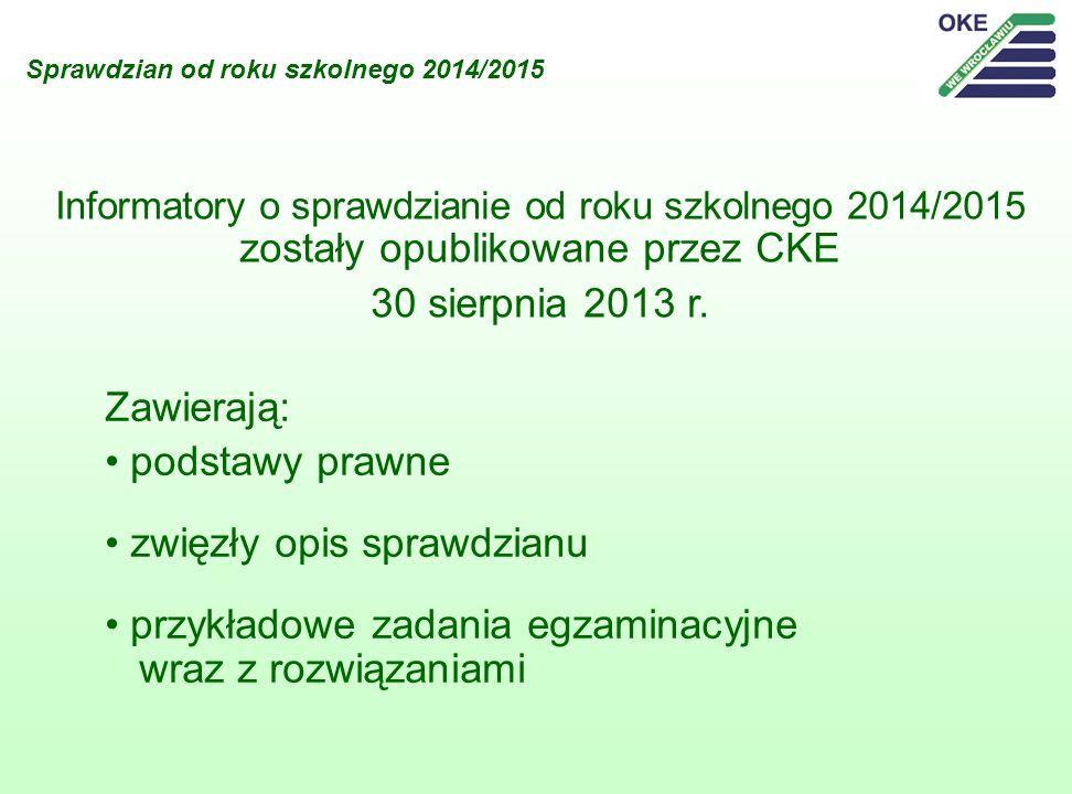Sprawdzian od roku szkolnego 2014/2015 Informatory o sprawdzianie od roku szkolnego 2014/2015 zostały opublikowane przez CKE 30 sierpnia 2013 r. Zawie
