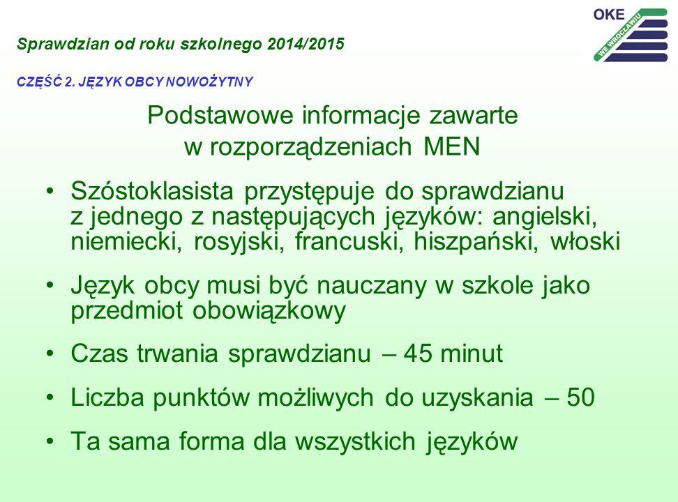 Podstawowe informacje zawarte w rozporządzeniach MEN Szóstoklasista przystępuje do sprawdzianu z jednego z następujących języków: angielski, niemiecki