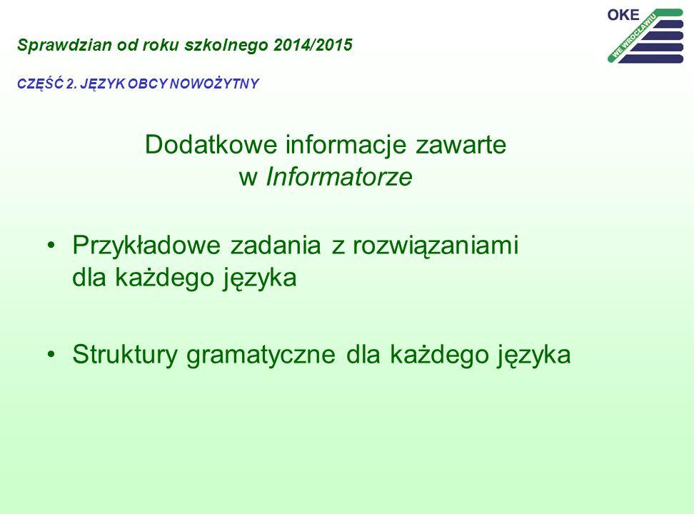 Dodatkowe informacje zawarte w Informatorze Przykładowe zadania z rozwiązaniami dla każdego języka Struktury gramatyczne dla każdego języka Sprawdzian