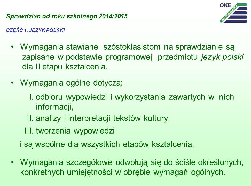 Sprawdzian od roku szkolnego 2014/2015 CZĘŚĆ 1. JĘZYK POLSKI Wymagania stawiane szóstoklasistom na sprawdzianie są zapisane w podstawie programowej pr
