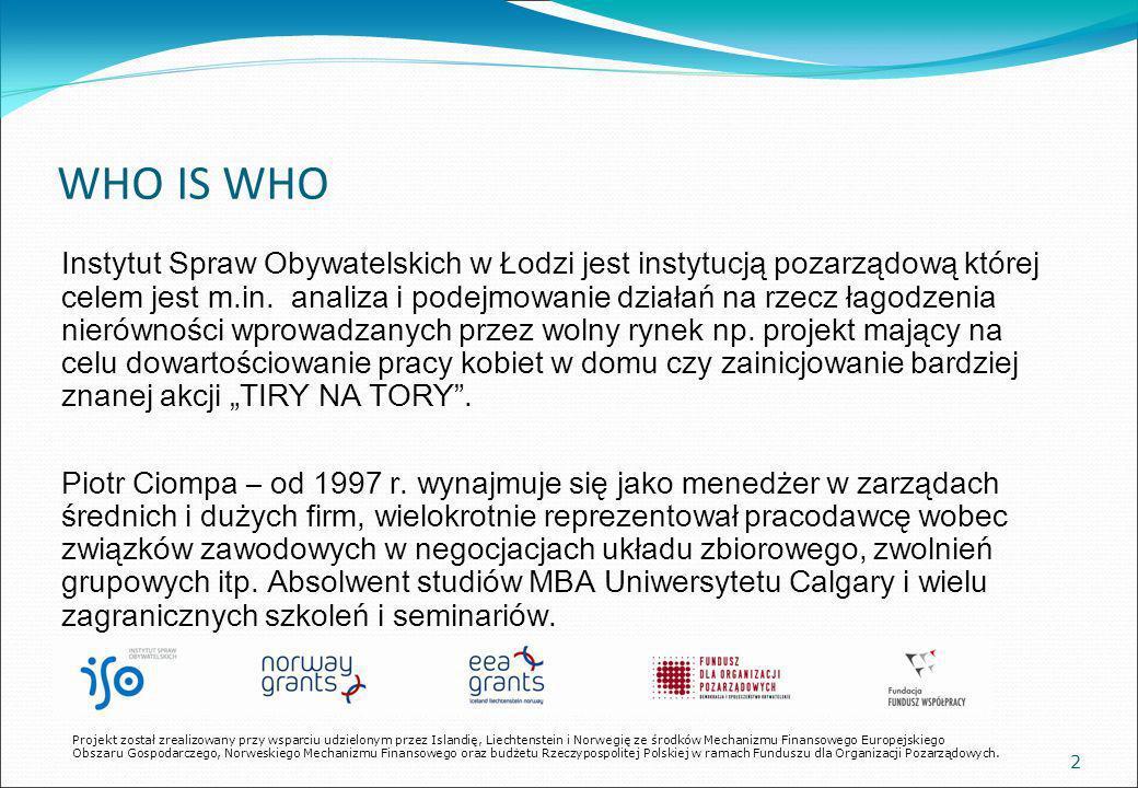 WHO IS WHO Instytut Spraw Obywatelskich w Łodzi jest instytucją pozarządową której celem jest m.in.