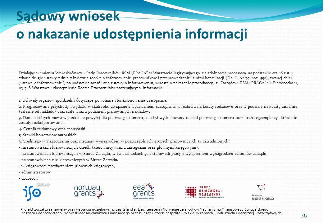 Sądowy wniosek o nakazanie udostępnienia informacji Działając w imieniu Wnioskodawcy - Rady Pracowników RSM PRAGA w Warszawie legitymującego się zdolnością procesową na podstawie art.