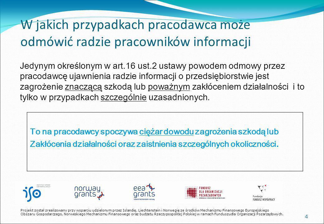 35 W jaki sposób rada ma skutecznie występować o dostęp do informacji KROK IV W przypadku dalszej odmowy udostępnienia informacji Rada powinna wystąpić z pozwem sądowym w trybie art.16 ust.3 ustawy.