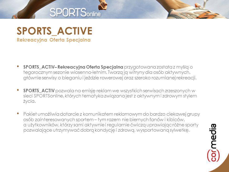 10 najciekawszych serwisów rekreacyjnych dla osób aktywnych: nasze-bieganie.pl | run-log.com | roweronline.pl | treningbiegacza.pl | maratonypolskiepl | bike.pl | dh-zone.com | magazynrowerowy.pl | squash.com.pl | wspinaczki.pl Łączny zasięg w sezonie letnim ok.