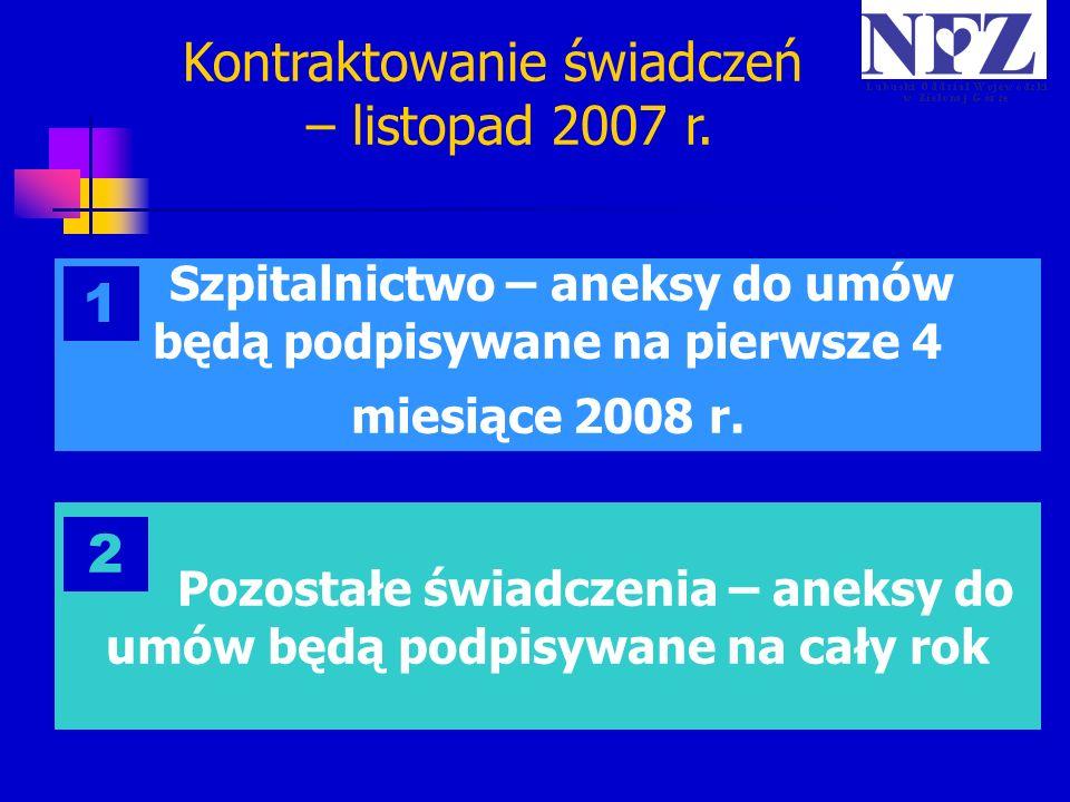 Szpitalnictwo – aneksy do umów będą podpisywane na pierwsze 4 miesiące 2008 r. 1 Pozostałe świadczenia – aneksy do umów będą podpisywane na cały rok 2