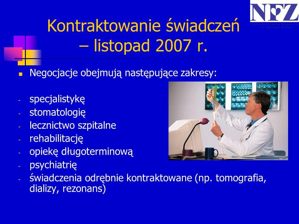 Negocjacje obejmują następujące zakresy: - specjalistykę - stomatologię - lecznictwo szpitalne - rehabilitację - opiekę długoterminową - psychiatrię -