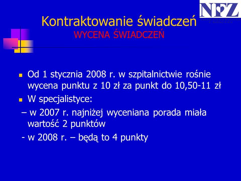Kontraktowanie świadczeń WYCENA ŚWIADCZEŃ Od 1 stycznia 2008 r. w szpitalnictwie rośnie wycena punktu z 10 zł za punkt do 10,50-11 zł W specjalistyce: