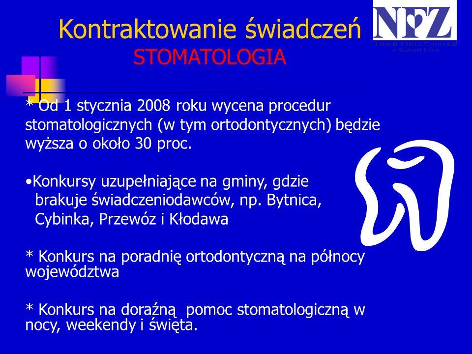 Kontraktowanie świadczeń STOMATOLOGIA * Od 1 stycznia 2008 roku wycena procedur stomatologicznych (w tym ortodontycznych) będzie wyższa o około 30 pro