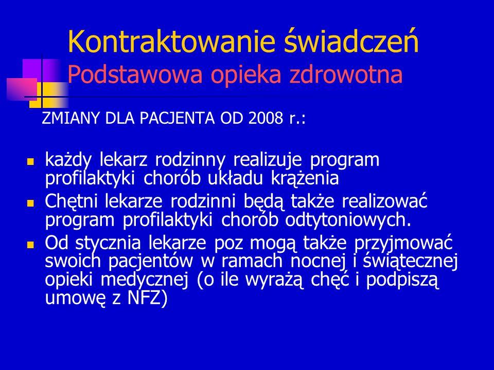 Kontraktowanie świadczeń Podstawowa opieka zdrowotna ZMIANY DLA PACJENTA OD 2008 r.: każdy lekarz rodzinny realizuje program profilaktyki chorób układ
